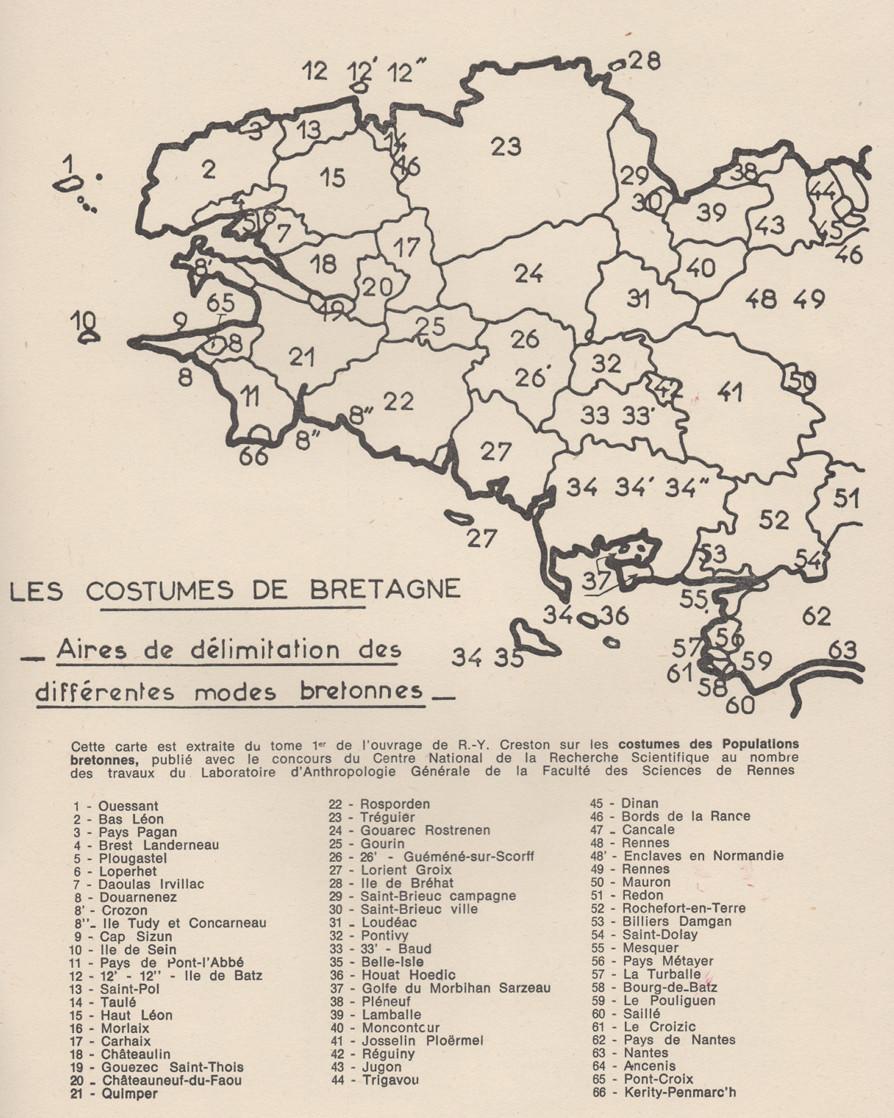 carte des costumes bretons