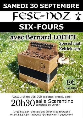 Fest Noz avec Bernard Loffet à Six Fours le 30 Septembre 2017