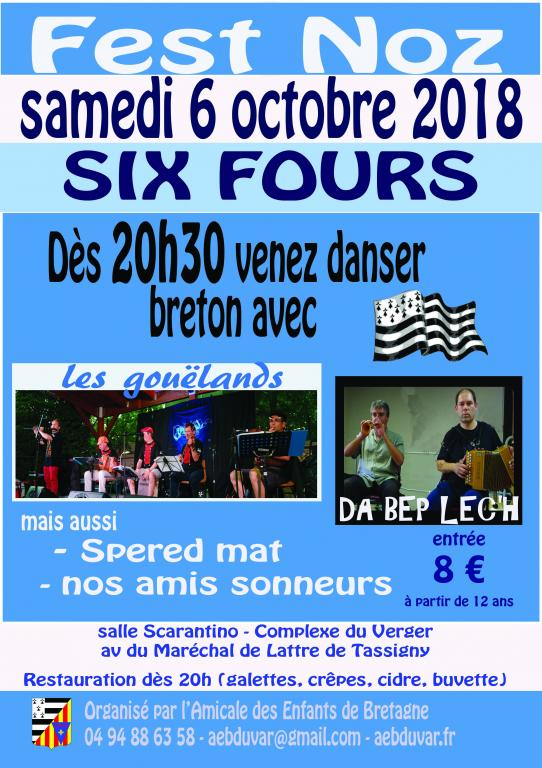 Fest Noz avec les Gouëlands , Da Bep Lec'h , Spered Mat et les sonneurs à Six Fours le 6 octobre 2018